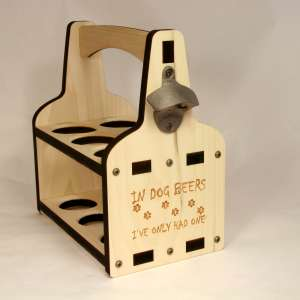 6 pack Beer Caddy, In Dog Years Engraved