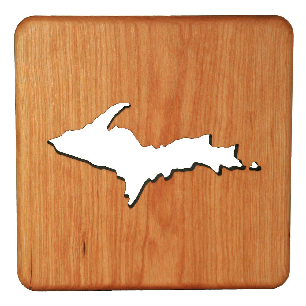 Wooden-Trivet _ Michigan - Showing Upper Peninsula