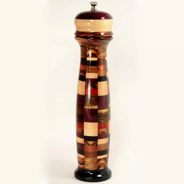 12 inch Colorful Wooden Pepper Mill - Checker - Gloss