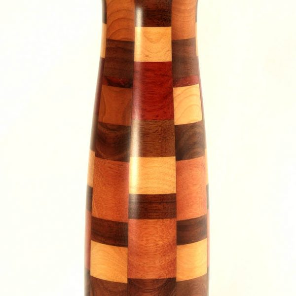 "12"" Wood Pepper Mill Satin Finish Checker Style"