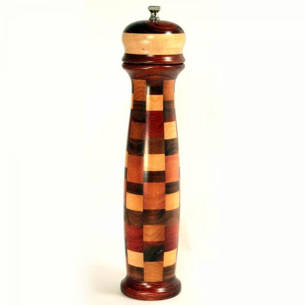 Pepper Grinder - 12 inch Satin Checker - Earthtone