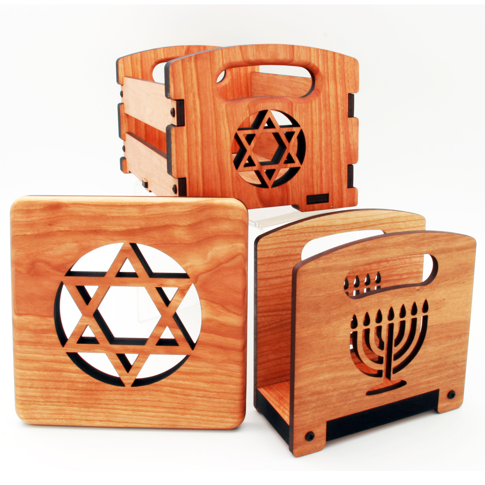 Star of David and Menorah Napkin Holders, Trivets, and small crates