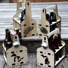 Wooden_Beer_Caddies_Assorted - Growler, Howler, Bomber, 6 pack caddy
