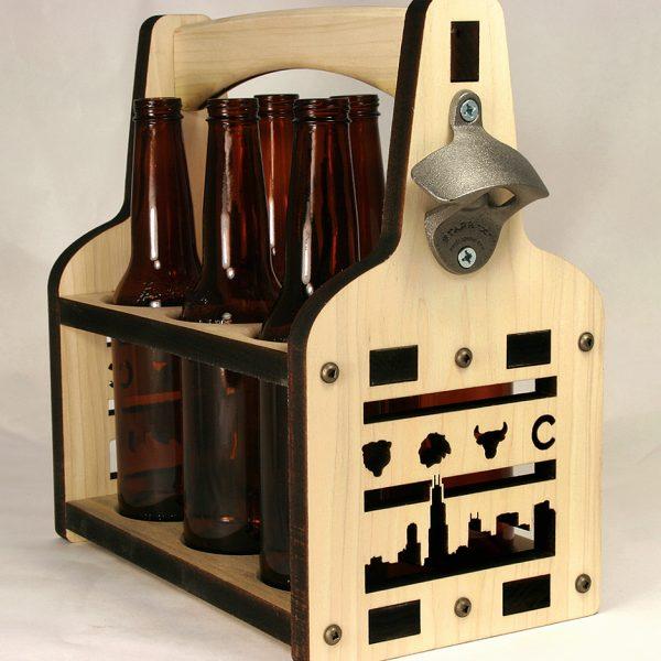 Beer Tote | Beer Holder | Wooden Beer Tote | Chicago Beer Carrier | Beer Tote | Bottle Caddy | 6 Pack Holder | Six Pack Holder | Six packer