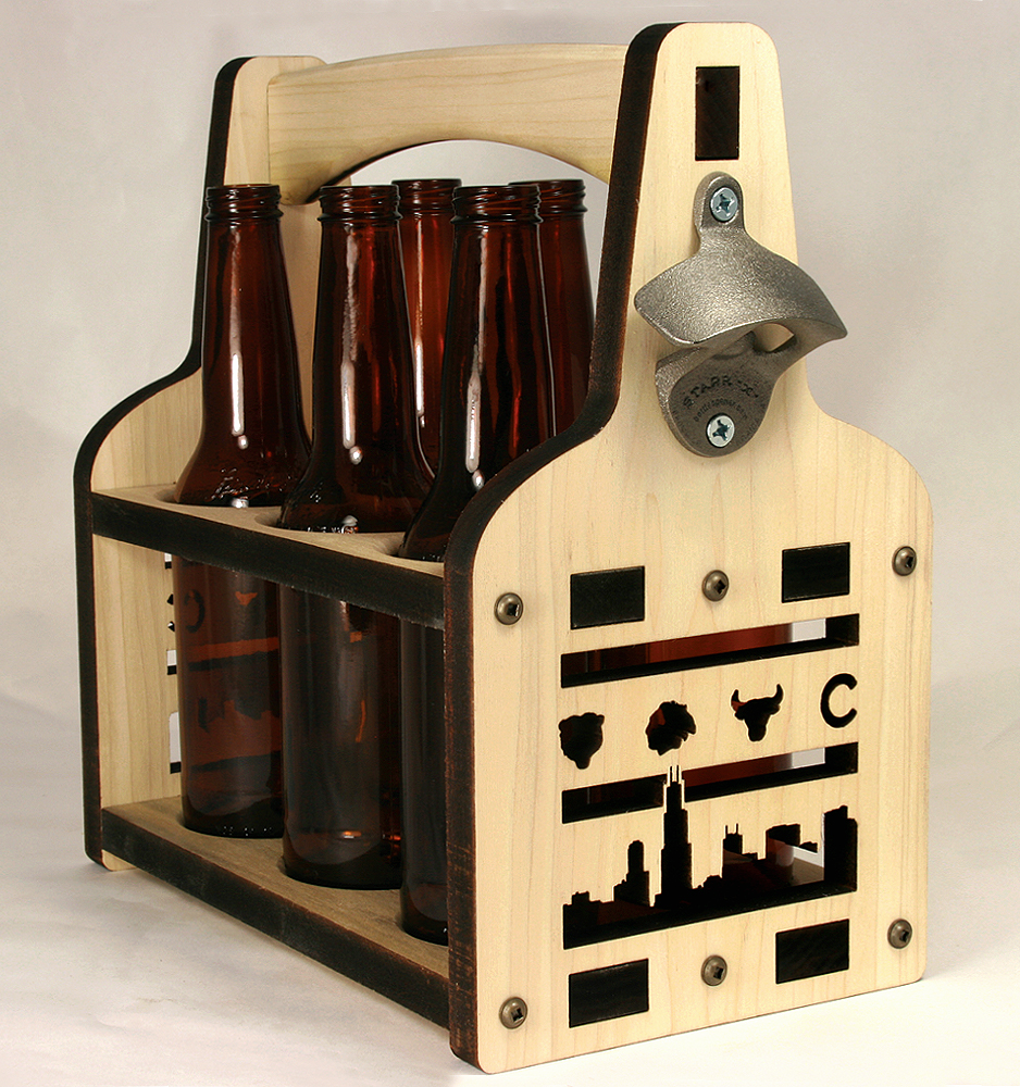 Beer Tote | Beer Holder | Wooden Beer Tote | Chicago Beer Carrier | Beer Tote | Bottle Caddy | 6 Pack Holder | Six Pack Holder | Six packer