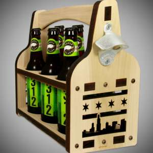 Chicago Skyline, Chicago Flag Wooden_Beer_Caddy