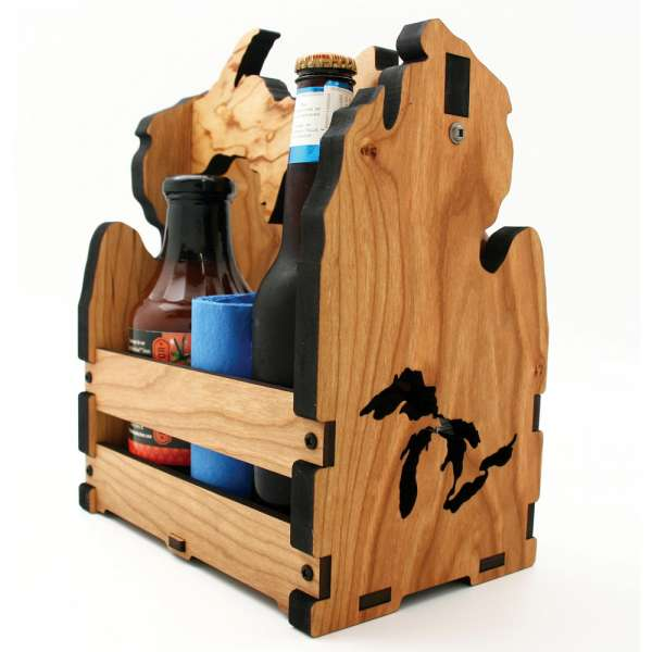 Kitchen Caddy Wooden, kitchen caddy, Shape of Michigan, Cherry wood.