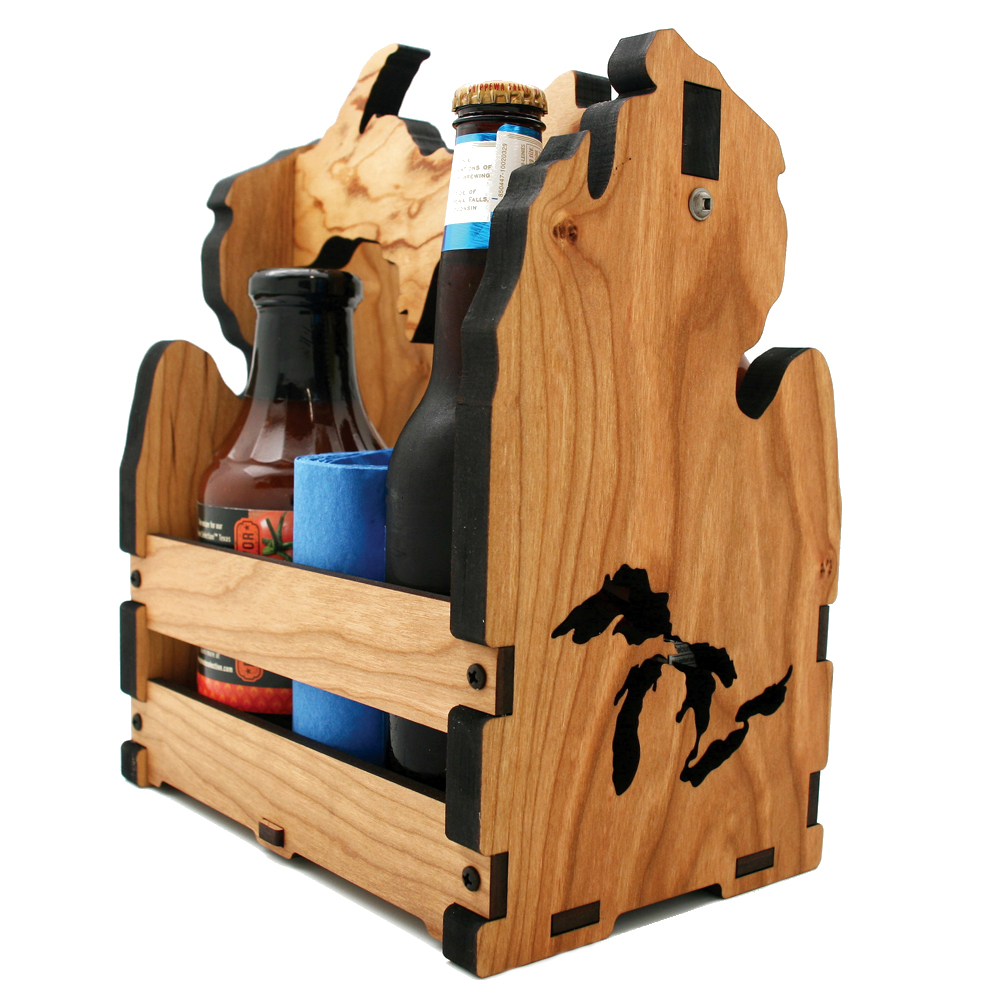 Custom Wood Condiment Caddy Michigan Cutout